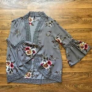 Gray Floral Kimono Crochet Lace Trim Bell Sleeves